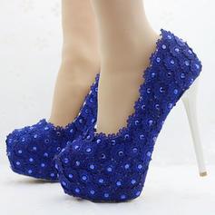 Women's Leatherette Stiletto Heel Closed Toe Platform Pumps With Applique