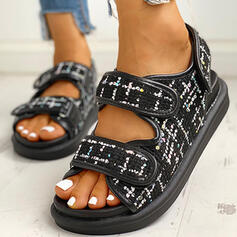 Women's Fabric Flat Heel Sandals Peep Toe With Velcro shoes