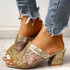 Women's Mesh Chunky Heel Sandals Peep Toe Slippers With Sequin Hollow-out shoes