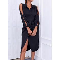 Solid Long Sleeves Slit Sleeve Sheath Knee Length Little Black/Elegant Dresses