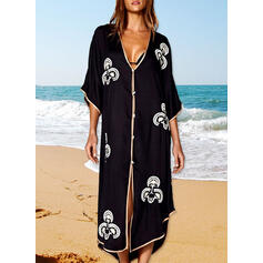 Print V-Neck Boho Cover-ups Swimsuits