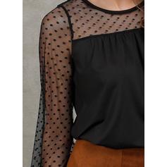 пэчворк кружевной Шею Длинные рукова Повседневная Блузы