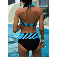 Stripe High Waist Print Halter V-Neck Sexy Vintage Plus Size Bikinis Swimsuits