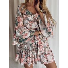 Imprimeu/Floral Mâneci Lungi/Mâneci Evazate Manşon Deasupra Genunchiului Casual/Elegant Elbiseler