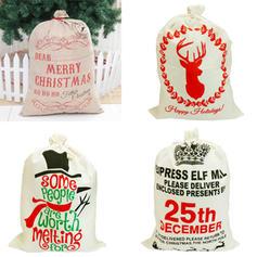 Feliz Navidad Monigote de nieve Reno Bolsa de regalo Lino Decoración navideña