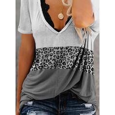 Colorido Leopardo Decote em V Manga Curta Camisetas