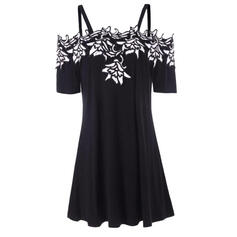 Embroidery Short Sleeves/Cold Shoulder Sleeve Shift Knee Length Casual/Vacation Dresses