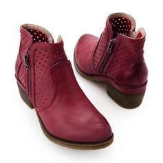 Femmes PU Talon bottier Bottines avec Zip chaussures