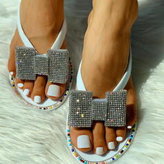 Dla kobiet PVC Płaski Obcas Sandały Otwarty Nosek Buta Kapcie Z Stras/ Krysztal Górski obuwie