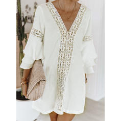 Lace/Solid 3/4 Sleeves/Flare Sleeves Shift Above Knee Casual/Vacation Dresses