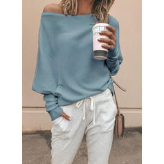 Plain Off the Shoulder Sweaters