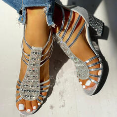 Women's PU Chunky Heel Sandals Pumps Peep Toe With Rhinestone Sequin Zipper shoes