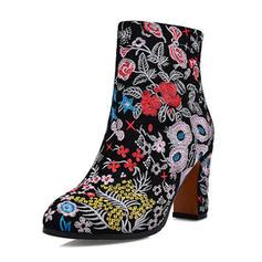 Kvinnor Äkta läder Tjockt Häl Stövlar Boots med Blomma skor