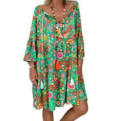 Print Long Sleeves Shift Knee Length Casual/Vacation Tunic Dresses