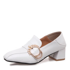 Women's Leatherette Chunky Heel Pumps Closed Toe With Imitation Pearl Buckle shoes