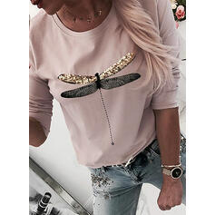 Animal Print Sequins Round Neck Long Sleeves T-shirts