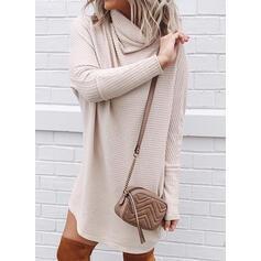 Einfarbig Rollkragen Freizeit Pulloverkleid