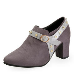 Women's PU Chunky Heel Pumps Closed Toe Ankle Boots With Rivet Buckle shoes