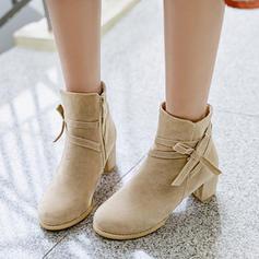 Femmes Suède Talon bottier Escarpins Bottes Bottines avec Bowknot Zip chaussures