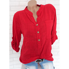 Solid Lapel Long Sleeves Button Up Casual Blouses