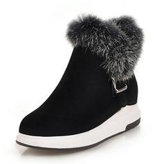 Femmes Suède Talon plat Plateforme Bottes Bottes neige avec Boucle chaussures