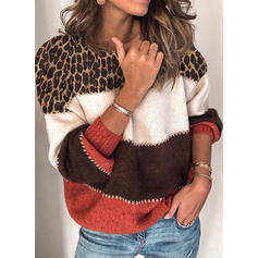 Color Block Animal Print Chunky knit Round Neck Sweaters