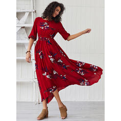 Print/Floral 1/2 Sleeves A-line Maxi Casual Dresses