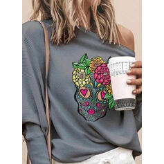 Print Floral One-Shoulder Long Sleeves Casual Knit Blouses