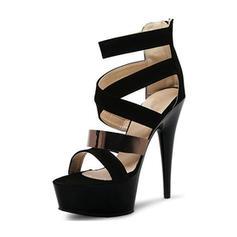 Donna PVC Tacco a spillo Sandalo Stiletto Piattaforma con Fibbia scarpe