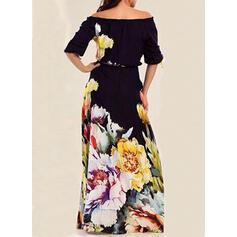 Impresión/Floral Mangas 1/2 Acampanado Casual/Elegante Maxi Vestidos