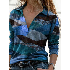 Print Lapel Long Sleeves Casual Blouses