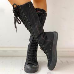 Femmes Toile Talon plat Bottes mi-mollets avec Zip Dentelle chaussures