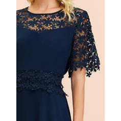 Lace/Solid 1/2 Sleeves A-line Midi Party/Elegant Dresses