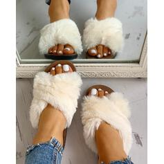 Women's Velvet Flat Heel Flats Slippers With Faux-Fur Solid shoes