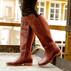 Frauen PU Niederiger Absatz Stiefel mit Schnalle Reißverschluss Schuhe
