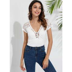 Solid Lace V-Neck Short Sleeves Casual Blouses