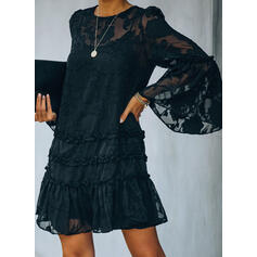 Lace/Solid Long Sleeves/Flare Sleeves Shift Above Knee Little Black/Elegant Dresses
