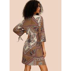 Print/Floral 3/4 Sleeves Shift Knee Length Casual/Boho/Vacation Dresses
