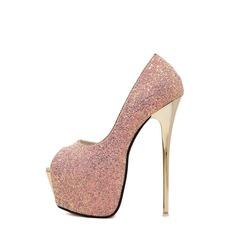 De mujer Brillo Chispeante Tacón stilettos Plataforma Encaje zapatos