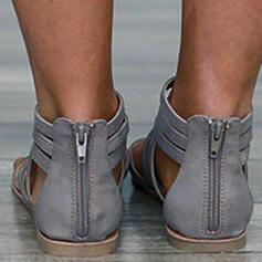 Women's PU Flat Heel Sandals Peep Toe With Elastic Band shoes