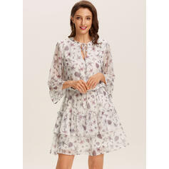 Print/Floral 3/4 Sleeves A-line Above Knee Casual/Elegant Dresses