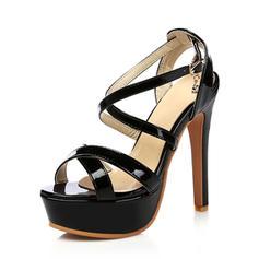 Femmes Cuir verni Talon stiletto Escarpins Plateforme avec Boucle chaussures