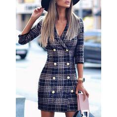 Plaid 3/4 Sleeves Sheath Above Knee Casual/Elegant Dresses