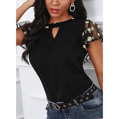 Embroidery Floral Round Neck Short Sleeves Casual Blouses