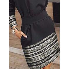 Print Lange Mouwen A-lijn Boven de knie Zwart jurkje/Casual/Feest Jurken