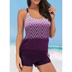 Stripe Wave Cut Strap U-Neck Plus Size Casual Tankinis Swimsuits