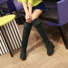 Mulheres Camurça Salto baixo Bota em cima do joelho com Zíper sapatos