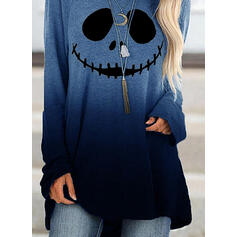 Print Tie Dye Halloween Round Neck Long Sleeves Sweatshirt
