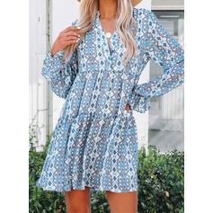 Nadruk/Kwiatowy Długie rękawy Sukienka Trapezowa Nad kolana Nieformalny Łyżwiaż Sukienki