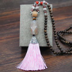 Fashionable Exotic Classic Alloy Wooden Beads Women's Necklaces